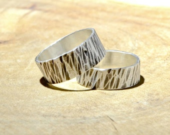 Tree Bark Hammered Sterling Silver Ring Set or Rustic Wedding Bands - RG234