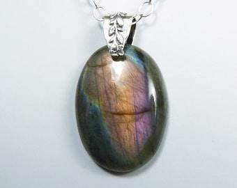 Purple Labradorite Necklace, Large Purple Natural Labradorite Pendant, Sterling Silver, Rare Purple, Lavender, Peach, and Blue Flash