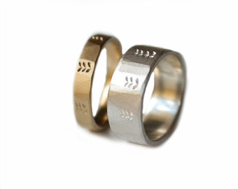 His and Hers Wedding Bands 9K Yellow Gold Argentium Silver Etched plant Design
