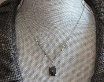 Vintage Art Deco Silver Filigree Black Glass Sterling Silver Pendant and Chain Necklace
