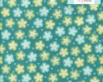 LAST HALF YARD, Timeless Treasures, Amelia, Floral on Teal, 1/2 yard
