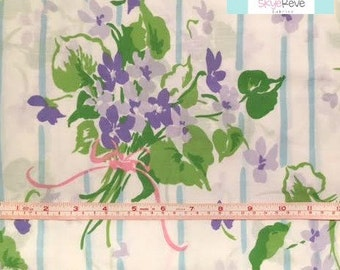 Vintage Pillowcase with Green and Purple Floral