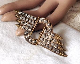 Vintage Art Deco Rhinestone Brooch - Winged Brass Metal and Crystal Pin - Antique Brooch