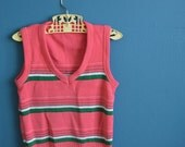 Vintage Girl's Pink Striped Sweater Vest - Size 3T 4T