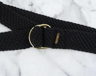 Vintage Ralph Lauren Knit Belt Black Gold Buckle Thick Woven