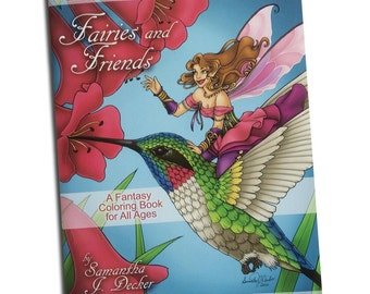 Fairy Coloring Book - Adult Coloring - Fairies and Friends a Fantasy Coloring Book by Samantha Jean Illustrations