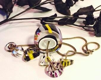 CIJ Christmas July SALE Beautiful Heavy Sterling Silver Blown Italian Art Glass Bid Mid Century Modern Vintage necklace