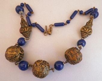 Clearance Sale SALE Stunning Art Nouveau Czech Cobalt Blue Glass Repousse Antique Necklace