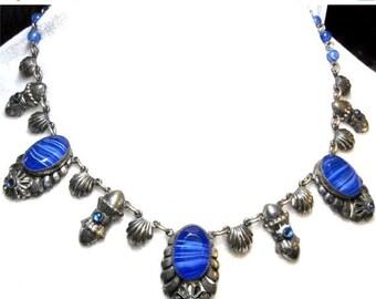 Valentines Lovers SALE Amazing Victorian Encrustation Italian Art Nouveau Silver Blue Art Glass Vintage Antique Necklace