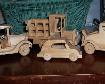 Vintage Handmade Wooden Folk Art Early 1900s Vehicles Set of 4 Unpainted Pine, Doors and Rumble Seat Open, Wheels Roll, 1970s Signed
