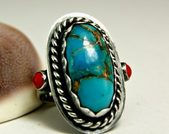 Copper Turquoise Ring, Natural Turquoise Jewelry, Antiqued Sterling Silver Ring, Tribal Style Bohemian Ring