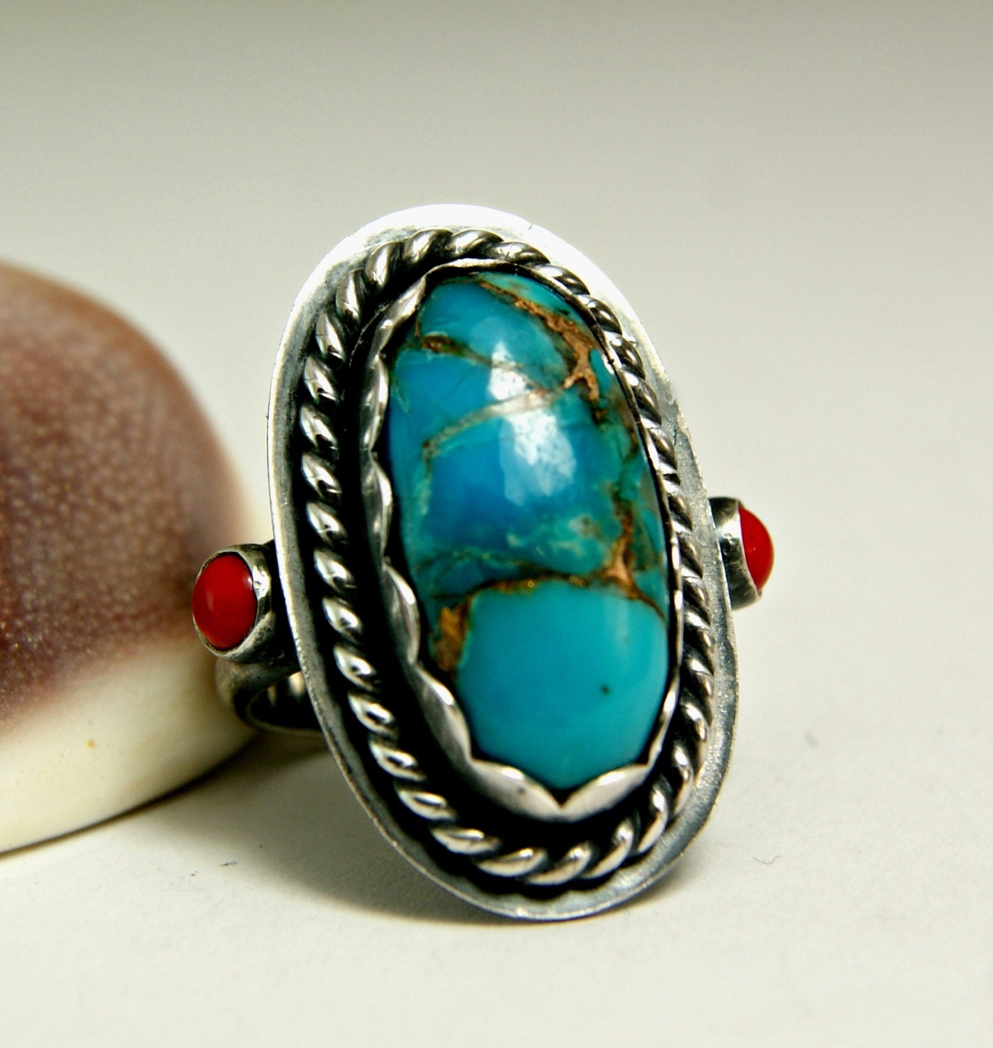 copper turquoise ring turquoise jewelry antiqued