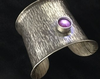 Hammered Oxidized Sterling Silver Cuff Bracelet with 15 Carat Star Ruby