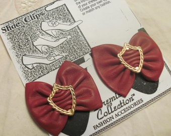 Shoe clips  Burgundy Leather Bows With An Ornate Gold Tone Metal Centers FREE SHIPPING