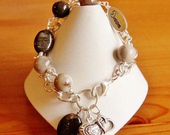 Petrified wood bracelet, statement bracelet, multi strand bracelet, gemstone bracelet, big chunky bracelet, bold bracelet, charm bracelet
