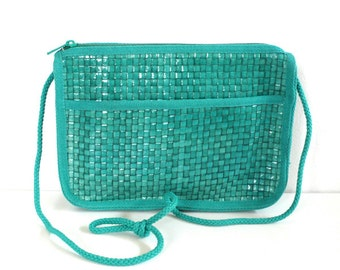 Vintage Woven Teal Purse // Made in Italy Novelli by Florence