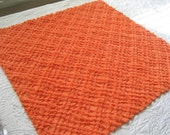 """Fluffy Bright Orange Chenille Grids, Waves and Pearls Vintage Chenille Bedspread Fabric 25"""" x 24"""""""