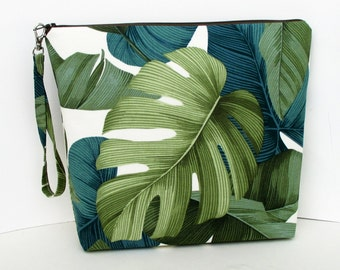 Project Bag, Tall Zippered Pouch, Green Tropical Leaves, Cosmetic Bag