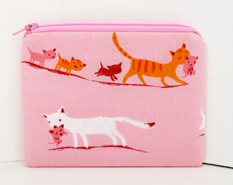 Pouch Small Zippered, Kitty Cat Parade on Pink, Heather Ross Fabric, Coin Purse