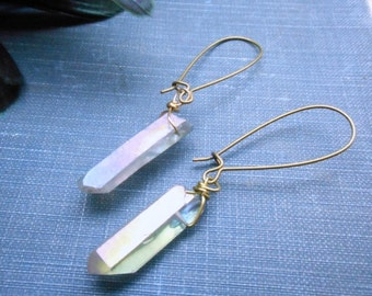 RAIN WIZARD. Simple Rustic Silvery Steel Blue titanium coated rough quartz points earrings