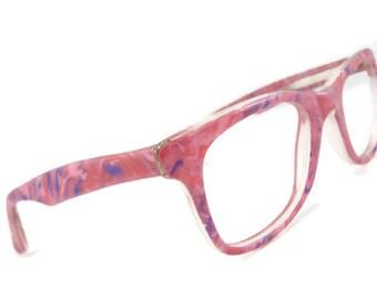 Vintage 1970s Pink Colored Big Lens Eyeglasses Eyewear Frame Large