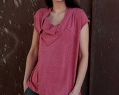 Winter Sale 15% Off!!! under 50,  Wrap asymmetrical top in pink