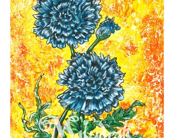 Blue Cornflower - Art Print