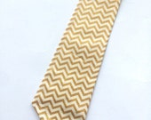 Little Guy Holiday NECKTIE Tie - Gold and Ivory Chevron - (2T-4T) - Boy Toddler - (Ready to Ship) Christmas