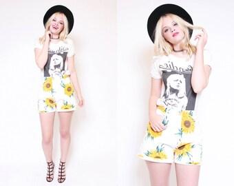 Vtg 90s Adorable Sunflower Flower Floral White Yellow Novelty High Waist Cute Summer Spring Shorts L