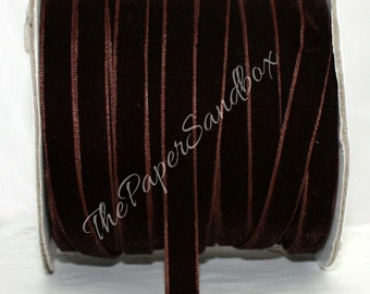 """Brown Velvet Ribbon, 3/8"""" wide Ribbon by the yard, Velvet Chokers, Gift Wrapping, Sewing, Velvet Trim, Party Supplies, Weddings, Costumes"""