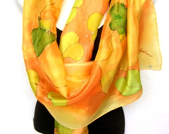 Hand Painted Silk Scarf,  Orchids Silk Scarf, Orange Yellow Lime Green, Floral Silk Scarf, Gift Under 50