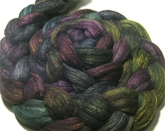 Hand dyed Polwarth wool & tussah silk roving 4.8 oz Anticipating Autumn - hand painted top spinning felting fiber