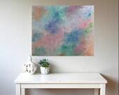 Original Abstract Painting, Impressionist, Minimalist, Floral Art, Modern, Garden, Pink, Blue, 18x24x1.5, Deep Canvas, Canvas, Len Dickson