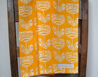 Summer SALE time. Scandi Tulip Motif  Screen Printed Tea Towel in Bright Sunshiny Yellow
