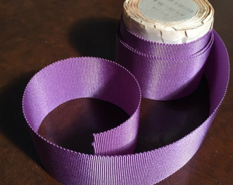 "1940's Lavender Violet Grosgrain Ribbon - 1 1/2"" Wide , Hat Ribbon , Couture Belting  with SawTooth Edge - 3 1/2 Yards"