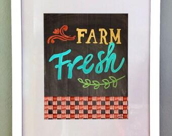 Farmer's Market Art Print, Printable Wall Art, Country Art Print, Kitchen Wall Decor, Chalkboard art print, Digital Download