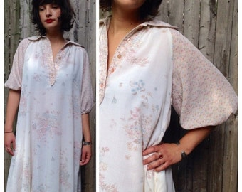 Sales Vintage 1970's Tent Dress with Pale Floral Pattern / Collared Off-White Dress with Elastic Sleeves / Gypsy Boho Hippie