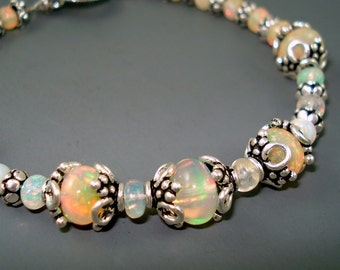 Opal Bracelet, Large Extreme Color Opals, Ethiopian Fire Opals and Sterling Silver Bracelet, Fire Opal Jewelry