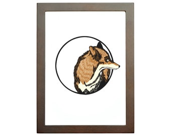 fox art print, fox papercut, papercutting, papercut print, cut paper print, art print, small art, fox papercut print, 5x7 print, 8x10 print