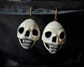 earrings - Skulls - memento mori, gothic, victorian, neovictorian, mourning, skull, dark, statement, horror, macabre, odd