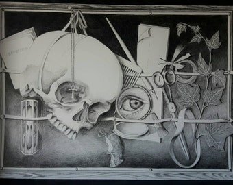 drawing - tromp-l'oeil stilllife  - pencil, graphite, skull, black and white, nocturnal, dark, gothic, vanitas, memento mori, stilllife