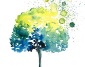 Happy tree -Landscape painting-Watercolor-Archival Large Print from my original watercolor painting 14x11 inch