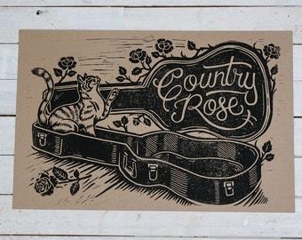 Country Rose - Kraft Block Print