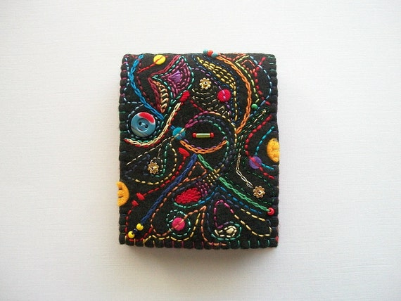 Needle Book Black Felt Needle Case With Abstract Embroidery