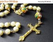 VALENTINE SALE Summer Blooms Pearl Rosary in Gold and Cream. Handmade Rosary.