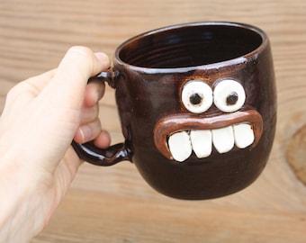 Pottery Face Mug. Funky Stoneware Coffee Cup. Black Beer Mug. Funny Nervous Face Mug. Extra Large 20 Ounce Stoneware Pottery Handmade Mugs.