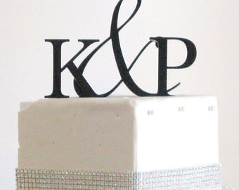 ON SALE Two Initials Ampersand Monogram Cake Topper for Wedding Cake