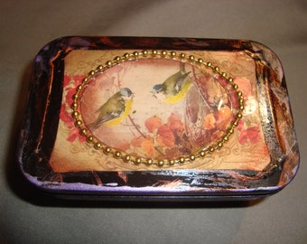 ALTERED ALTOID TIN - Two Birds on a Branch