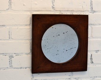 Circle Opening Accent Mirror Reclaimed Redwood Anitqued Mirror - Handmade Wooden Mirror - Circle Glass - Gallery Wall