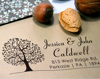 Tree Personalized Stamp (Pre-inked Stamp) Custom Return Address, Thank You, Wedding, Save the date, Teacher Stamp, Gifts for him (P1015L)